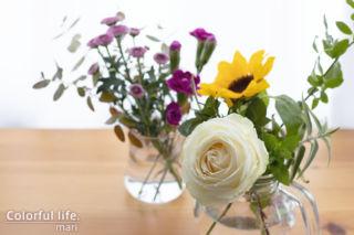 届いたお花を2つに分けて