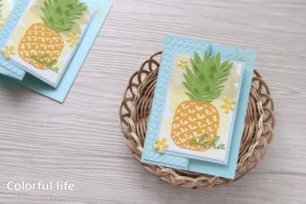 【ダイカット】見てるだけで元気が出ちゃう、大きなパイナップルのカード