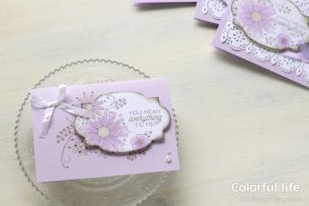 【スタンプ・スタンパレイタス】ラベルと台紙で絵柄をつなげて、お花のカード