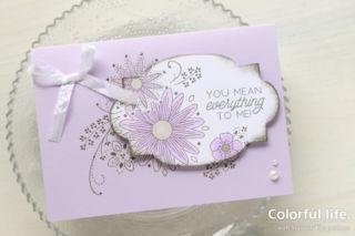 ラベルと台紙で絵柄をつなげて、お花のカード/アップ(縦:リトルレース)