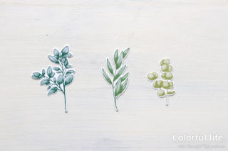 葉っぱを束ねて、グリーンブーケのカード(スタンプパーツ:フォーエバー・グリーナリー)