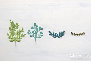 葉っぱを束ねて、グリーンブーケのカード(ダイカットパーツ:フォーエバー・フローリッシング)