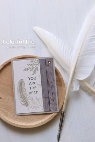 シックな色で、ふわふわ羽のカード(縦:イン・グッド・テイスト)