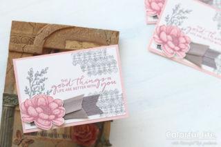 お花スタンプにささっと色塗り、シックなカード(横:テイストフル・タッチ)