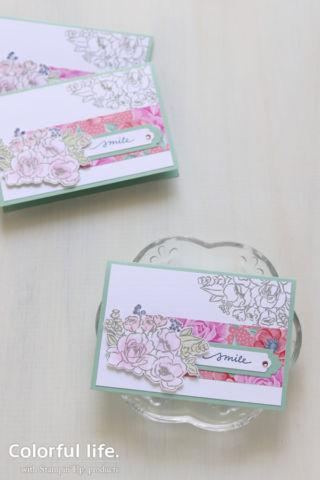 華やかなペーパーを大人っぽく使う、お花ブーケのカード(縦:ジャー・オブ・フラワー)