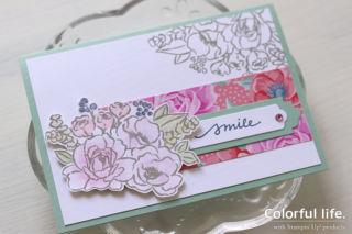 華やかなペーパーを大人っぽく使う、お花ブーケのカード(アップ:ジャー・オブ・フラワー)