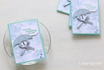 【スタンプ + パンチ】雨の多い季節に、アンブレラとあじさいのカード