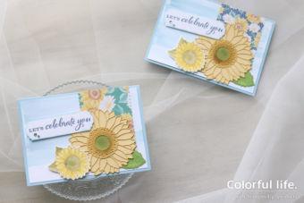 【色塗り&ダイカット】大きなヒマワリを飾った夏のお祝いカード
