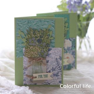 夏に涼しげ、花生けのカード(1:1ジャー・オブ・フラワー)
