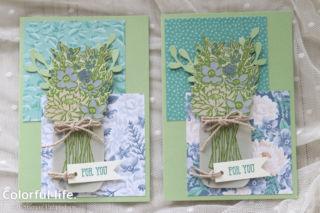 ジャーをシンプルに使う、お花生けのカード(DSP違い:ジャー・オブ・フラワー)