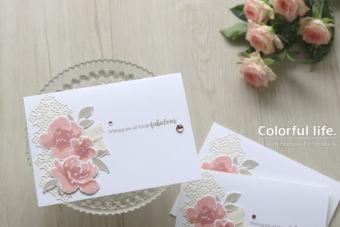 【カンタン・ダイカット】ピンク色を重ねても大人っぽく、薔薇のホワイトカード