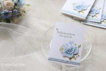 【カンタン・ダイカット(代用可)】大人なブルーで、薔薇のシンプルカード