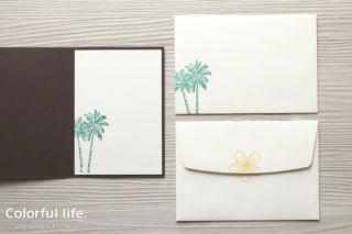 夏のお花を楽しむ、ハイビスカスとプルメリアのカード(中紙&封筒:タイムレス・トロピカル)