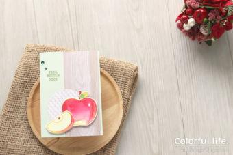 【色塗り&パンチ】今度はリンゴで、色塗りカード♪