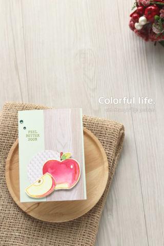 今度はリンゴで、色塗りカード♪(縦:ハーベスト・ハロー)