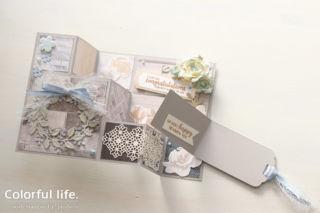 お花いっぱい、お祝いのスペシャルカード(開:アレンジ・ア・リース)