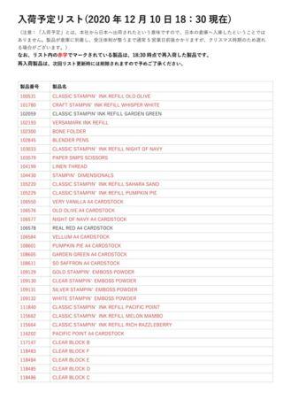 12/10版 再入荷・入荷待ちリスト1