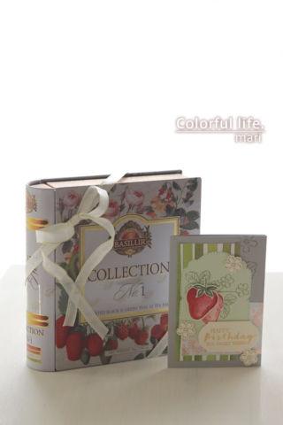 ギフトボックスに合わせたいちごちゃん、早春のバースデーのカード(縦:スウィート・ストロベリー)