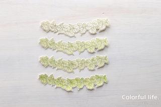 ライン状のふさふさ葉っぱを飾ったカード(色塗り)