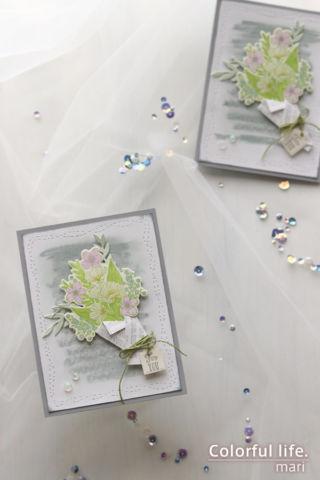 薄曇りの春をイメージして♪ふんわり花束のカード(縦:ラップドブーケ/スタンピンアップ)