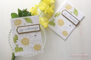 ささっとカンタンに色塗り♪デイジーのカード(横:Spring Daisy/Altenew)
