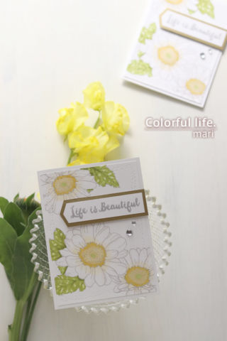 ささっとカンタンに色塗り♪デイジーのカード(縦:Spring Daisy/Altenew)