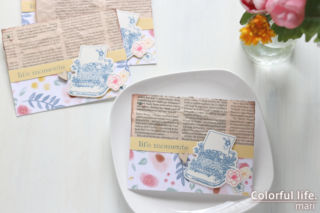 キットにused品をプラス♪お花とタイプライターのカード(横:ハピネスリブズヒア/CTMH)