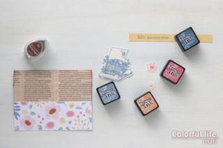 キットにused品をプラス♪お花とタイプライターのカード(使ったインク:ハピネスリブズヒア/CTMH)