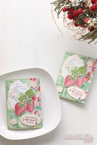 アンティーク調のフレームを飾って♪いちごちゃんのカード(縦:スウィート・ストロベリー/スタンピンアップ)