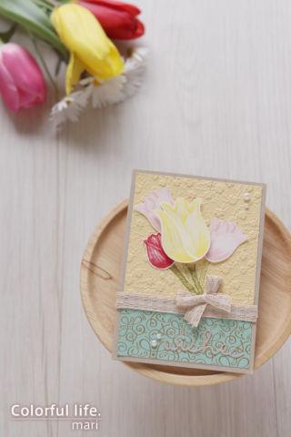 インクと同色のマーカーでささっと色塗り♪キュートなチューリップのカード(縦:タイムレス・チューリップ)