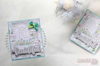 カードキットで春の窓辺を♪ホワイトウィンドウのカード(横:Spring Windows/Simon Says stamp)