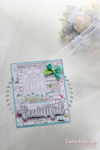 カードキットで春の窓辺を♪ホワイトウィンドウのカード(縦:Spring Windows/Simon Says stamp)