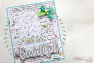 カードキットで春の窓辺を♪ホワイトウィンドウのカード(アップ:Spring Windows/Simon Says stamp)