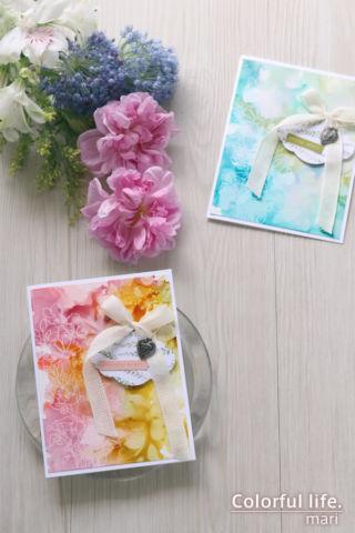アルコールインクを白抜きで♪ふんわりリボンのお花カード(縦:BEAUTIFUL HUMANS//Simon Says stamp)