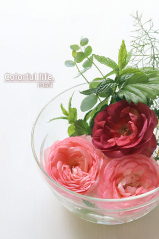 短い花はボウルに浮かべて