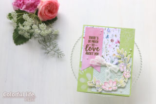 色鉛筆でふわっと♪お花がいっぱいの色塗りカード(横:BEAUTIFUL HUMANS/Simon Says stamp)