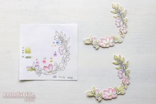 色鉛筆でふわっと♪お花がいっぱいの色塗りカード(色塗りパーツ:BEAUTIFUL HUMANS/Simon Says stamp)