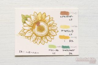 ひとあし早く夏の花♪ヒマワリいっぱい、元気な夏のカード(使った色/スタンピンブレンズ)