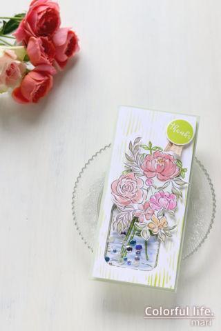 お花とジャーのシャカシャカカード(縦:Eucalyptus Jar Stamp/Altenew)