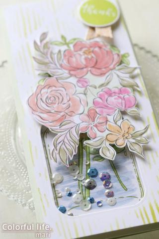 お花とジャーのシャカシャカカード(アップ:Eucalyptus Jar Stamp/Altenew)