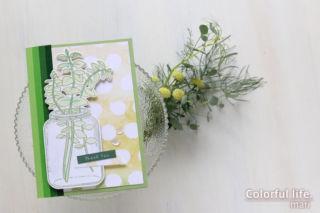 葉っぱとジャーのスタンプでカンタンに♪色塗りカード(Eucalyptus Jar/Altenew)