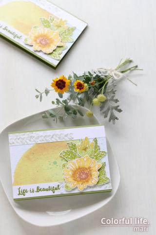 お気に入りのスタンプを元気な色で♪ヒマワリみたいなデイジーカード(縦:Spring Daisy/Altenew)