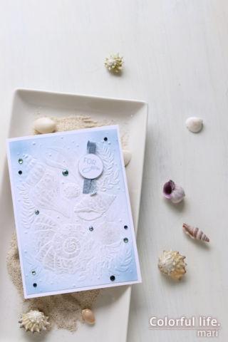 1枚柄のエンボスフォルダーを素直に使って♪ホワイトシェルのカード(縦:フレンズ・アー・ライク・シーシェルズ/スタンピンアップ)