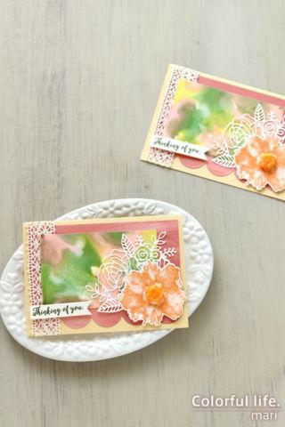インクレフィルを使ったアルコールインクで、オレンジ色のフラワーのカード(縦:ARTISTICALLY INKED/スタンピンアップ)