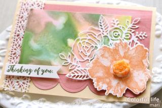 インクレフィルを使ったアルコールインクで、オレンジ色のフラワーのカード(アップ:ARTISTICALLY INKED/スタンピンアップ)