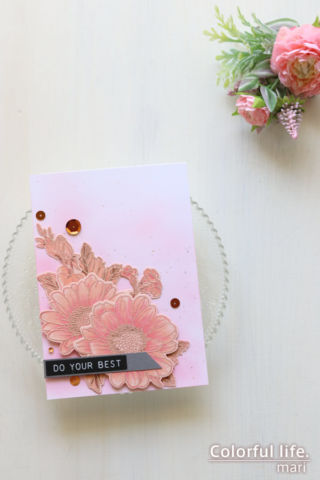 公式ブログ掲載のデザインをまねて♪ピンクのデージーカード(縦:Spring Daisy/Altenew)