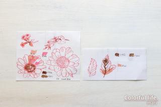 公式ブログ掲載のデザインをまねて♪ピンクのデージーカード(塗った色:Spring Daisy/Altenew)