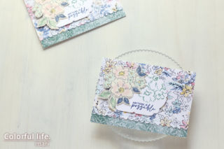 ホワイトグランドを生かして、お花いっぱいのカード(横:HAND-PENNED/スタンピンアップ)