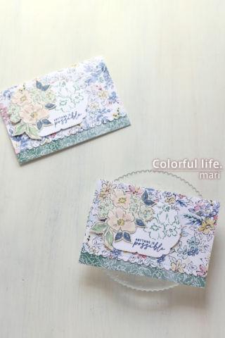 ホワイトグランドを生かして、お花いっぱいのカード(縦:HAND-PENNED/スタンピンアップ)