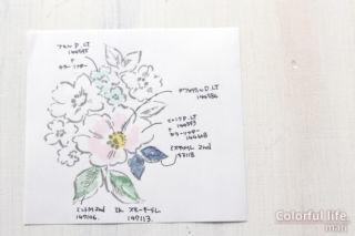 ホワイトグランドを生かして、お花いっぱいのカード(試し塗り:HAND-PENNED/スタンピンアップ)